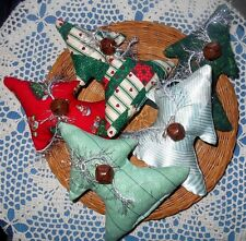 5 Primitive Christmas Tree Bowl Fillers Ornies Fabric Sparkling Decorations