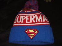 Adult DC Comics Superman Logo Man Of Steel Knit Pom Beanie Stocking Cap Ski Hat