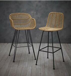 SET OF 2 RAFFERTY WOVEN RATTAN & BLACK METAL BAR STOOLS - STANDARD & CARVER