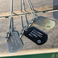 Military Army Bullet Charm Dog Tags SINGLE EMBOSSED Chain Pendant Necklace Men