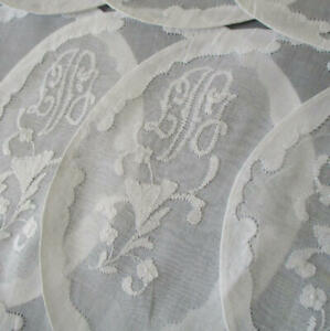 12 Vintage Madeira ORGANDY Hand Embroidered Doilies Coasters VOLK Provenance