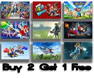 Nintendo Game Prints Poster Gaming Wall Art Nerd Mario Zelda Switch Maxi