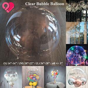 PVC Clear Foil Bubble Balloon Traceless Transparent Wedding Party Decor Bulk SML