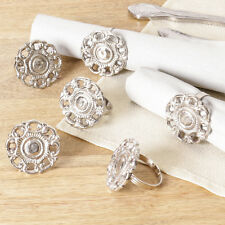 Set of 6 Luxury Traditional English Tudor Rose Napkin Rings in Antiqued Silver