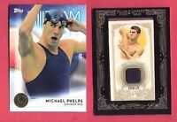 MICHAEL PHELPS WORN RELIC ALLEN & GINTER & 16 TOPPS GOLD MEDAL CARD USA OLYMPICS
