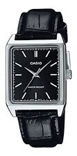 Casio Men's Analog Quartz Stainless Steel Black Leather Watch MTPV007L-1E