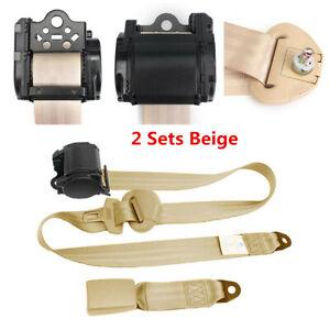 2X Beige Retractable Seat Belt 3 Point Car Truck Lap Adjustable Safety Belt Kit