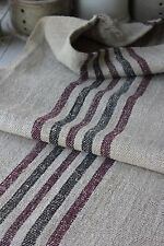 GRAINSACK GRAIN SACK BLACK & BURGUNDY Stripes rare industrial look 1900 hemp