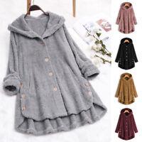 UK Womens Winter Hooded Long Sleeve Fluffy Fur Warm Tops Coat Hoodies Outerwear