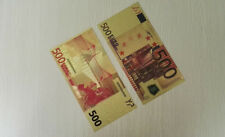 New listing Bill Euros 10Pcs World Gold Foil Coloured €500 Paper Money Collection Currency
