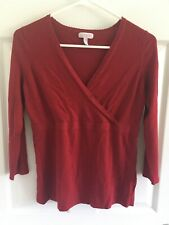 Women's A Pea In The Pod Maternity Nursing Red Shirt Top 3/4 Sleeve Soft Small