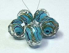 """HANDMADE LAMPWORK FACETED GLASS  BEADS, """"SKY BLUE AND GOLD SAND """" ENCASED"""