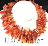 "Multi Strands Natural Carnelian Branch Silver Toggle Necklace 20""*"