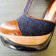 FENDI PUMPS PLATFORMS FW 2013 GRAY ANTHRACITE FELT BROWN LEATHER IT Sz 38 US 8B