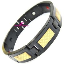 Black Magnetic Bio Energy 4in1 FIR Germanium + GOLD Foil Link Bracelet