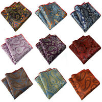 Men Stylish Paisley Jacquard Floral Hanky Pocket Square Wedding Handkerchief New