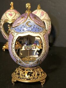 Franklin Mint Faberge Musical Carousel Horse Egg 96 LIGHT OF SILVERY MOON
