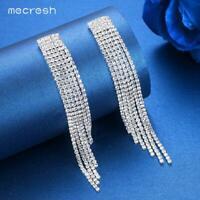 Mecresh Silver/Gold Crystal Long Tassel Earrings Fashion Jewelry for Bride