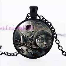 Skull Jack and Sally Photo Cabochon Glass Black Chain Pendant Necklace