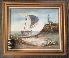 Vintage Original Oil Painting Signed Brian Roche, Lighthouse Seascape Sailboat