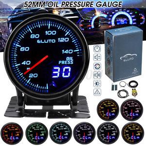"""Universal 2"""" 52mm 12V Oil Pressure Gauge W/Sensor 10 Color LED Tinted Face PSI"""