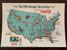 Postcard 1996 Atlanta Olympic Torch Relay USA Map Coca Cola large 4x6 in