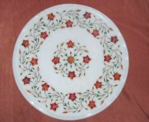 "12"" white Marble corner end Table top semi precious stones inlay art"