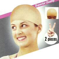 2pcs Nylon Bald Wig Hair Cap Stocking Liner Snood Mesh Stretch Beige Salable