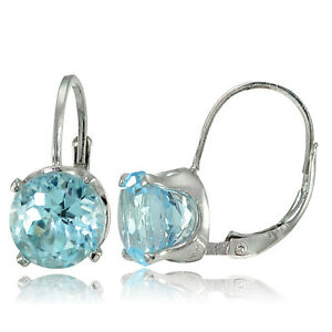 Sterling Silver Blue Topaz 8mm Round Leverback Earrings