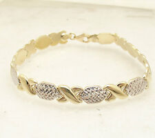 "7.25"" Diamond Cut Hugs and Kisses Stampato Bracelet Real 10K Yellow White Gold"