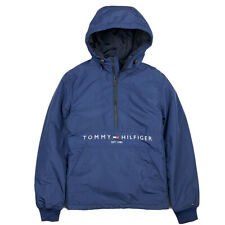 Tommy Hilfiger Mens Half Zip Navy Hooded Windbreaker Jacket