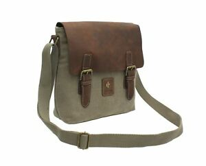 Cactus Canvas And Distressed Oiled Leather Cross Body Bag 820_81