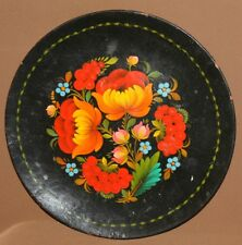 Vintage Russian hand painted floral flowers wood tole plate