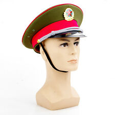 59cm New Chinese Solider officer Captain's Visor Hat Communist Army Cap & Badge