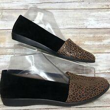 Aerosoles Trend Setter 8M Black Suede Leopard Print Loafer Womens