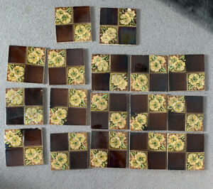 17 X Vintage / antique Victorian ? Floor Or Wall Tiles . Architectural Salvage