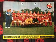 Poster mit 11 Autogrammen KICKERS OFFENBACH 70/71-R.Weida †-Fans/Geschenk-79/17