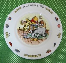 Royal Doulton Winnie The Pooh Disney A Christening Gift Baby Plate NICE!  T45