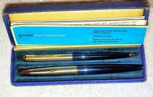 Parker 45  Fountain Pen & Pencil Set Blue & Silver/Gold Cap and Trim