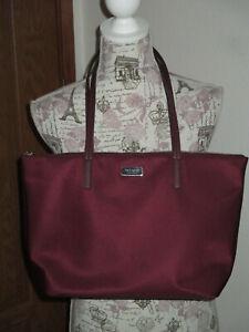 Kate Spade New York Large Plum Purple Canvas Tote Handbag Purse