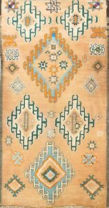 Antique Hand-knotted Moroccan Vegetable Dye Geometric Oriental Area Rug 6x10