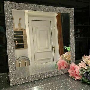 50x50 Silver Diamante Square Wall Mirror Bling Diamante Lace Jewel Wall Mirror