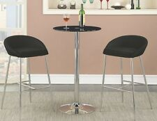3 Piece Bar Table Set in Black with 2 Bar Stools by Coaster 121341-102526