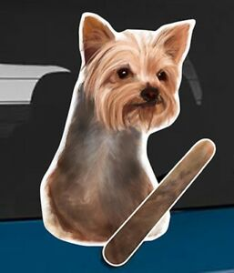 Yorkshire Terrier Rear Car Window Sticker With Wagging Tail To Fit On Wiper Arm