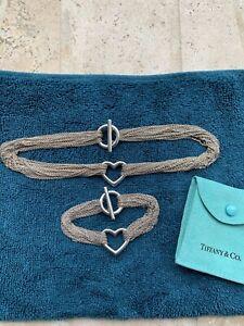Authentic Tiffany & Co. 10 Strand Open Heart Toggle Necklace & Bracelet Set