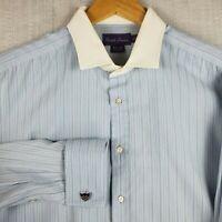 RALPH LAUREN ITALY Purple Label 17.5-36 Dress Shirt Textured French Cuff Mens