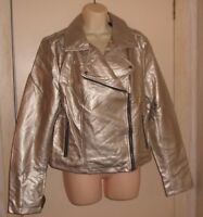 Forever 21+ Plus Women's Gold Metallic Moto Jacket