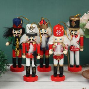12cm Wooden Nutcracker Soldier Decor Kids Doll Merry Christmas Decoration Z1^qi