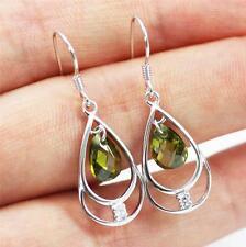 Pretty Solid 925 Sterling Silver & Peridot Drop / Dangle Earrings jewellery