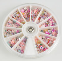 1200pcs Mixed Nail Art Tips Glitters Rhinestones Slice Decoration Manicure LS87